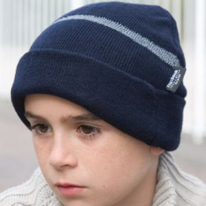 Children's Wooly Ski Hat with Reflective Woven Threaded Band Thumbnail