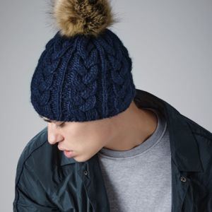 Beechfield Fur Pop Pom Cable Beanie Thumbnail